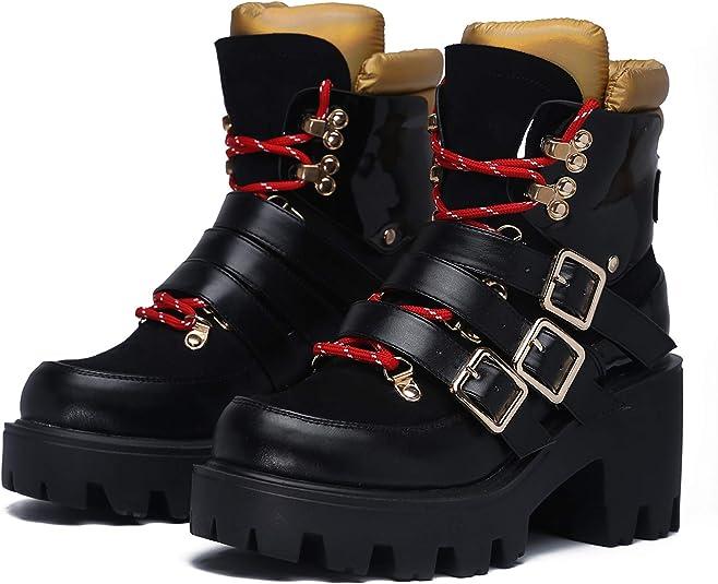 Ladies Boots Women Chelsea Cowboy Biker Shoes Block Heel Platform Ankle Military