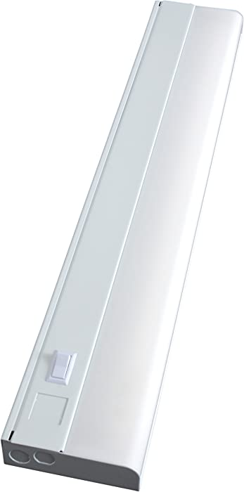 GE Advantage Direct Wire 24 inch Fluorescent Light Fixture, Warm White, On/Off Switch, Ideal for Kitchen, Utility Room, Basement, Workshop and Garage, 16690