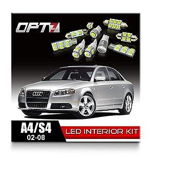 opt7 10pc conjunto de repuesto de bombilla LED de luz interior bombillas para 02 - 08 Audi A4/S4, Canbus, blanco: Amazon.es: Coche y moto