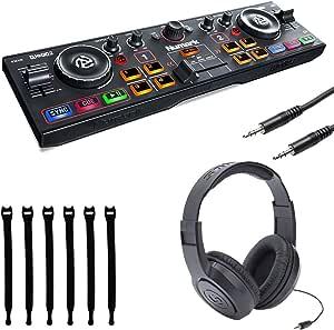 Numark DJ2GO2 | Pocket DJ Controller with Audio Interface + Samson Headphones + Stereo Interconnect Cable + Strapeez - Top Value Bundle