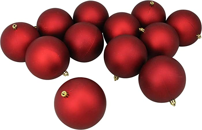 Northlight 11064141 12ct Matte Red Hot Shatterproof Christmas Ball Ornaments 4 100mm Home Kitchen Amazon Com