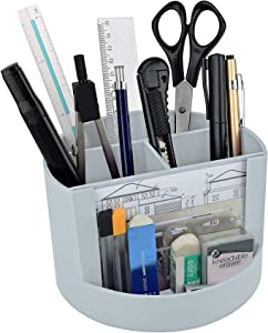 Acrimet Plastic Desktop Organizer - Mix Organizer Caddy Photo Holder - Office Supplies Storage and Home Organization (Pen Pencil Clip Holder) (White Color)