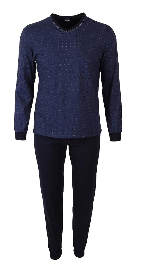 f2fc758579918e Herrenmode Kleidung & Accessoires AMMANN Herren Pyjama Schlafanzug lang Gr  52 dunkelblau V-Ausschnitt Bündchen