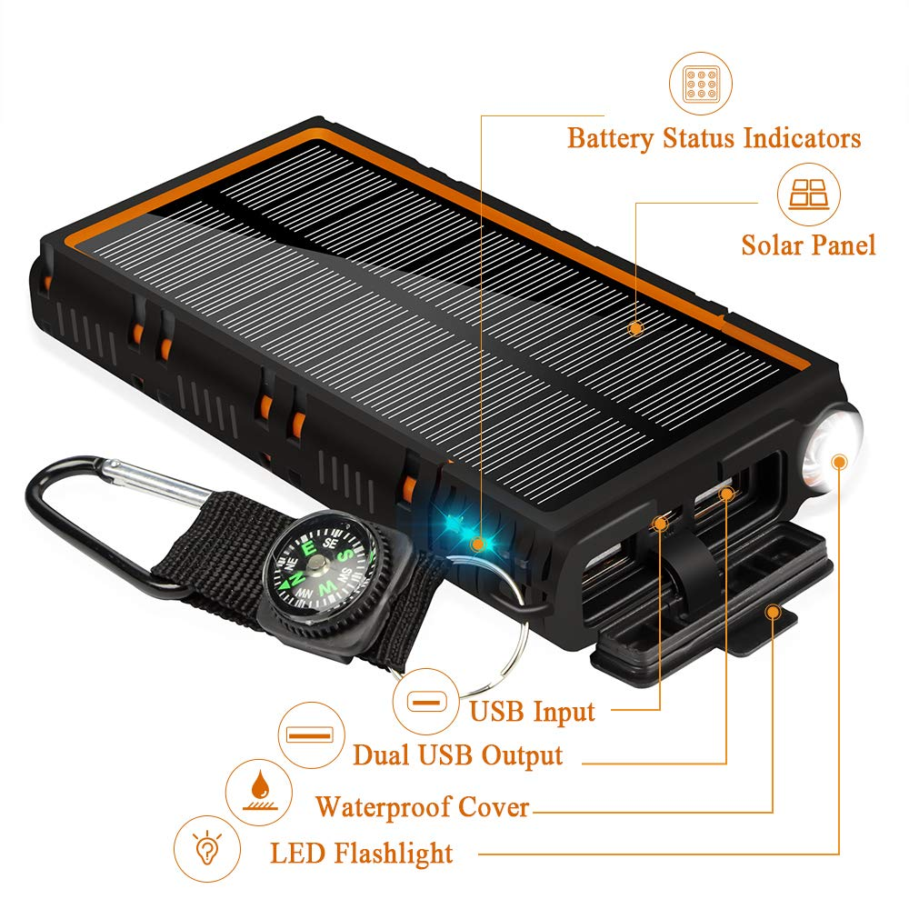 soyond Solar Power Bank-15000 mAh Portable Solar Battery Phone Charger Dual USB Waterproof 2 Led Light Flashlight with Compass for Camping Outdoor Hiking for Smartphones (Orange) by soyond (Image #3)