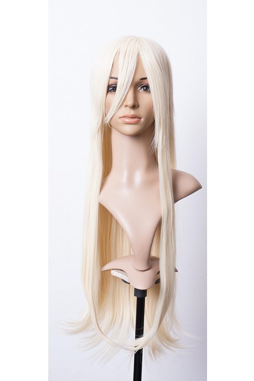 Cosplayland C754-80cm hell Creme Blond glatt Volles Volumen lange hitzefest Per/ücke
