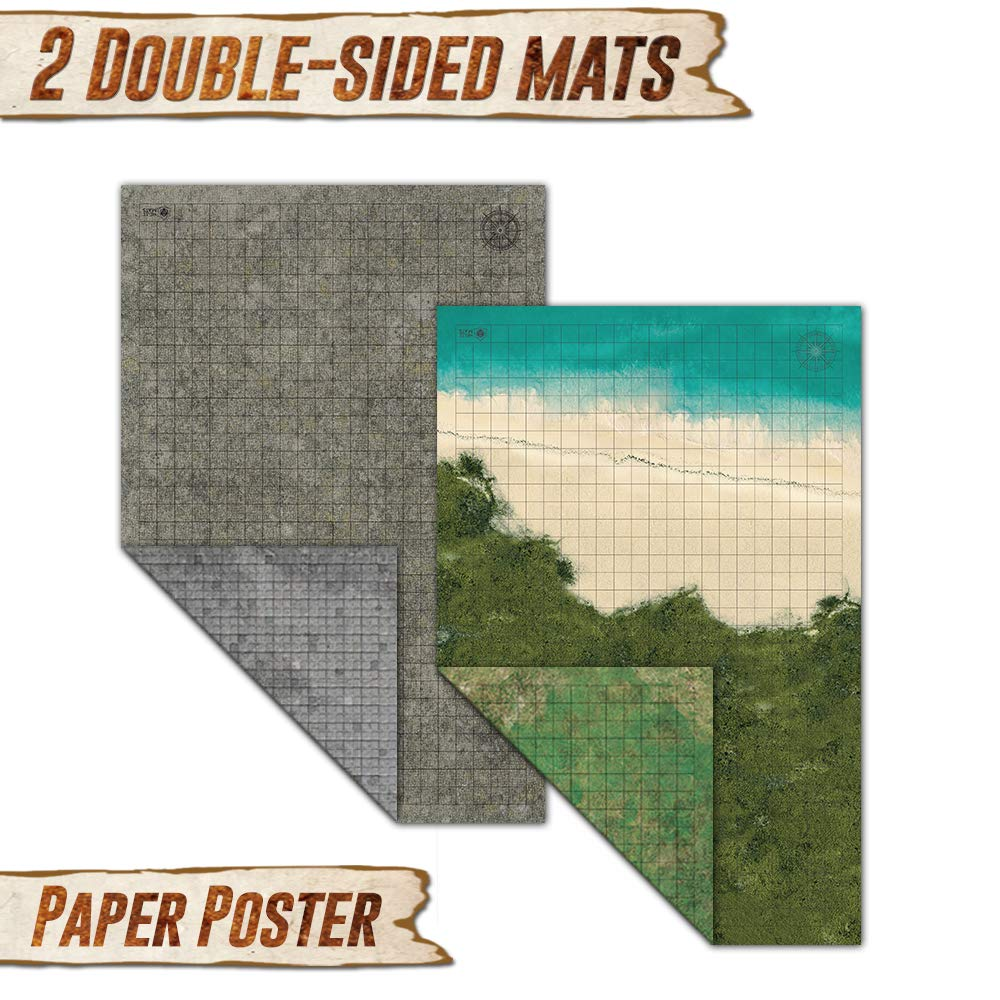 Battle Grid Game Mat - 2 PACK DOUBLE SIDED 36 x 24 - Portable DND RPG Table Top Role Playing Map - Dungeons and Dragons Starter Set - Tabletop Gaming Paper - Reusable Figure Board Game by Melee Mats (Image #2)