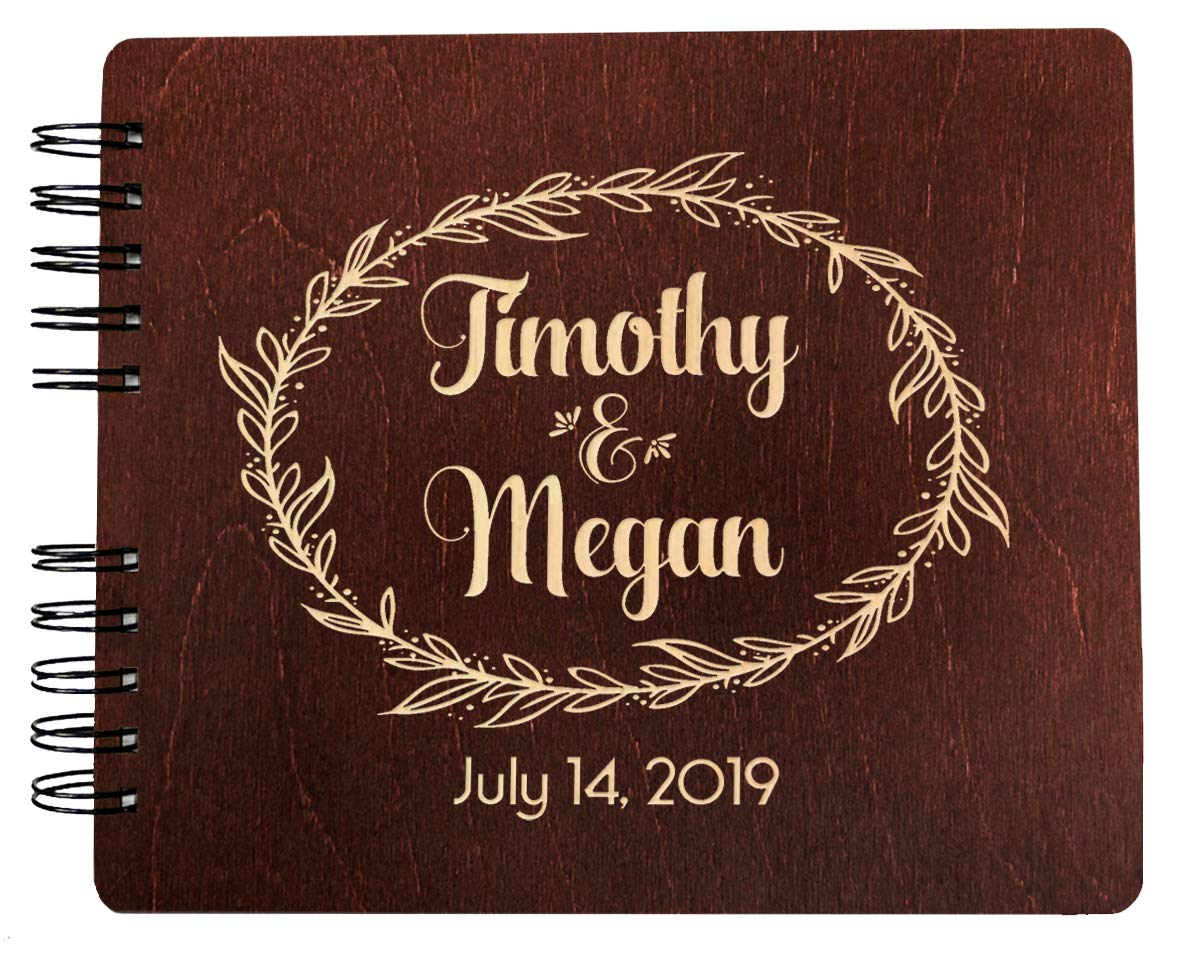 Weddings-by-StockingFactory Custom Couples Wreathe Handmade (11x8.5 or 8.5'' x7) Guest Book for Newlyweds Mr and Mrs Bride and Groom Bridal Shower Gift