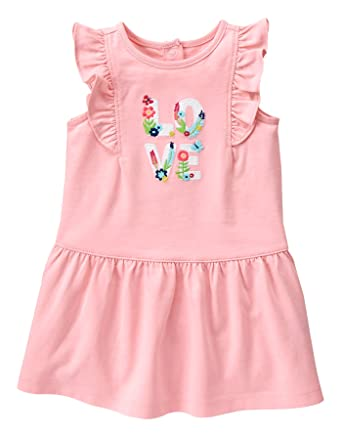 51be41f93bc1 Gymboree Baby Toddler Girls' Pink Love Graphic Dress, Baby Flamingo, 3-6