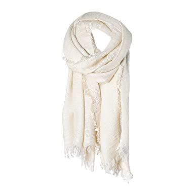 f6ec030d7 Cream Solid Cozy Color Womens Fashion Warm Winter Blanket Scarf Scarves at Amazon  Women's Clothing store: