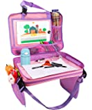 Zooawa Kids Car Seat Travel Tray, Detachable 4 in 1 Toy Storage Organizers iPad Kindle & Other Tablets Holder for Toddlers - Pink