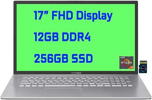 "2021 Asus VivoBook 17 Premium Business Laptop I 17"" FHD Display I AMD Ryzen 3 3250U Processor I 12GB DDR4 256GB SSD I AMD Radeon Graphic I USB-C HDMI SonicMaster Win10 + Delca 32GB Micro SD Card"