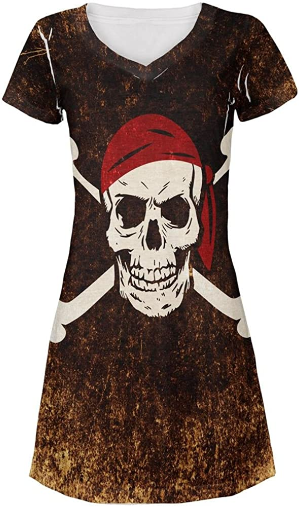 Jolly Roger Pirate Flag Distressed Grunge All Over Juniors Beach Cover-Up Dress
