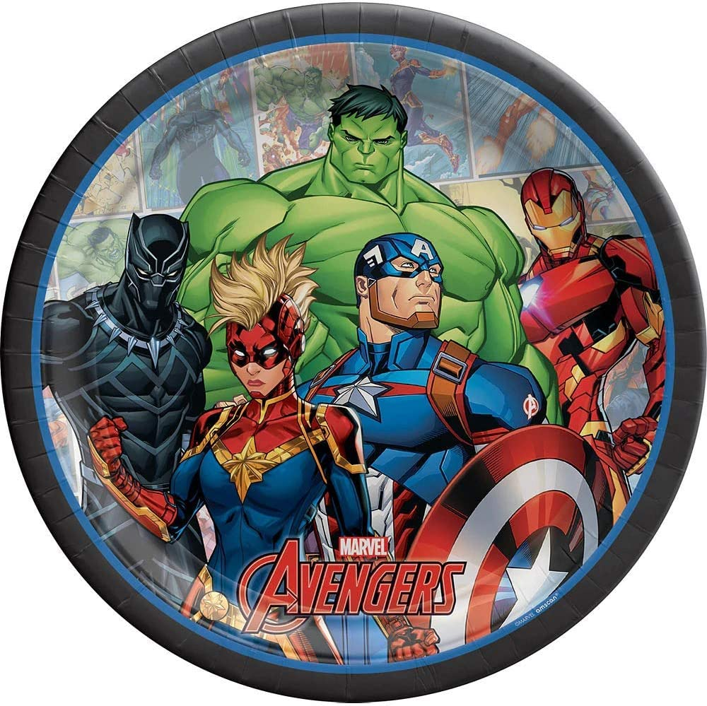 Utensils and Printed Ribbon Marvel Legends Avengers Party Supplies Lunch Bundle Including Plates Napkins