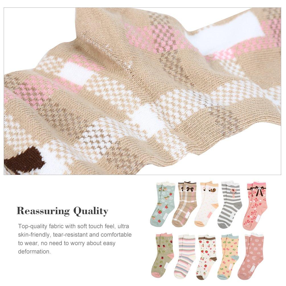 VBG VBIGER Girls Cotton Crew Seamless Socks Cute Novelty for Baby Toddler Kids 10 Pack ¡ by VBG VBIGER (Image #3)