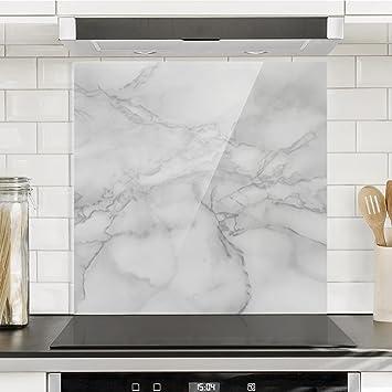 Bilderwelten Spritzschutz Glas - Marmoroptik Schwarz Weiß - Quadrat ...