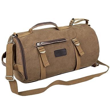 93a57cd2724e Eshow Men s Canvas 4 Ways Retro Weekend Overnight Duffel Gym Bag Cylinder  Bag Shoulder Bag Backpack
