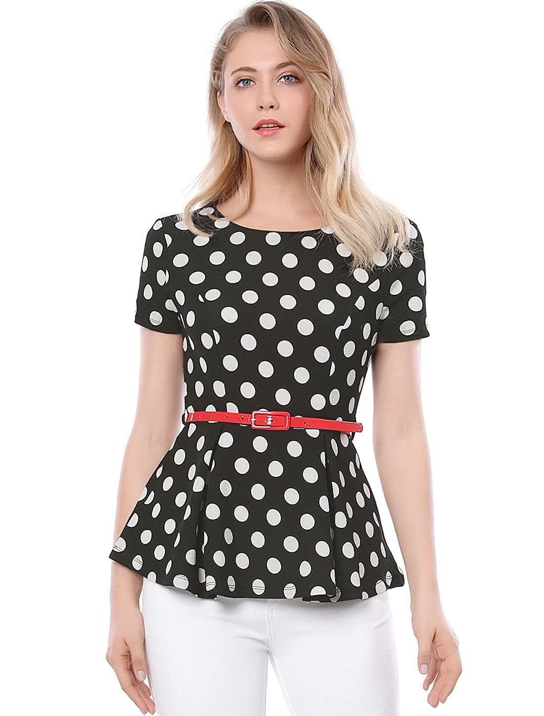 c0542a2053c46c Round Neck, Polka Dots, Peplum, Flared Hem, Contrast Belted Occasion:  Suitable for Working, Shopping, Coffee Shop, Party etc