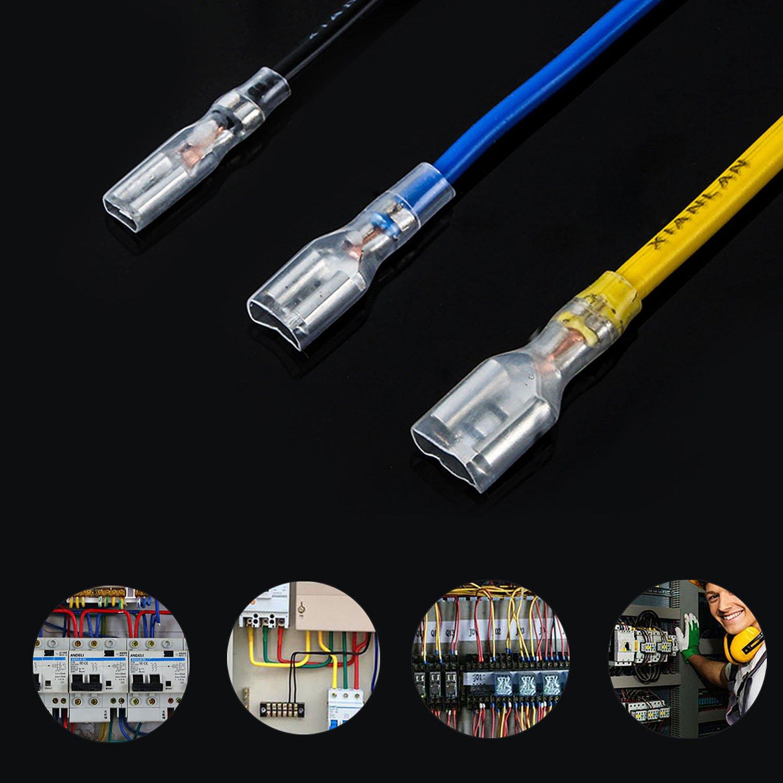 ZOEON 150 Pcs Connecteur /à Sertir Spade Terminals avec Manchon Isolant Cosse pour Connecteurs de Fils et de C/âbles Connecteurs Cosses /électriques en Laiton