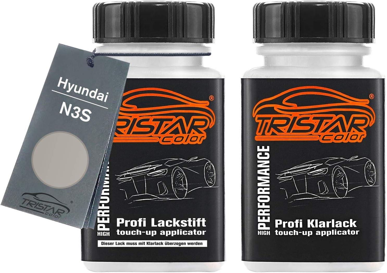 Tristarcolor Autolack Lackstift Set Für Hyundai N3s Shimmering Silver Metallic Sleek Silver Metallic Basislack Klarlack Je 50ml Auto