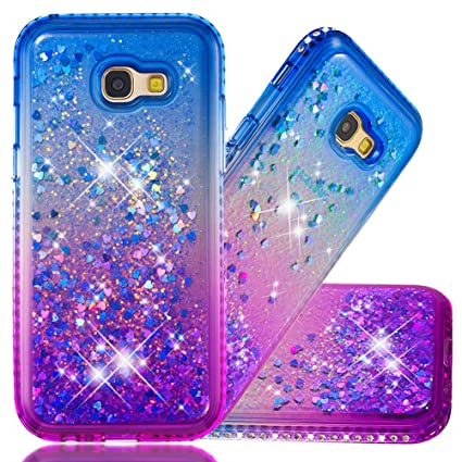 the latest 8cd47 21da9 Samsung A5 2017 Protective Case, COTDINFORCA Liquid Glitter Case for Girls  Women Bling Shiny Flowing Love Heart Cover Clear TPU Shockproof Bumper for  ...