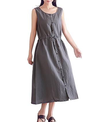 33fc5ed172a YUHEYUHE Women s Loose Long Midi Summer Dress Cotton Linen Dresses with  Belt at Amazon Women s Clothing store