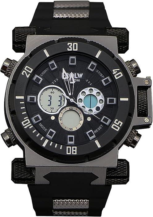 2625632019f7 Zeiger Reloj Hombre Digital Agujas – LED Backlight Alarm Fecha Día – negro  goma Resine pulsera