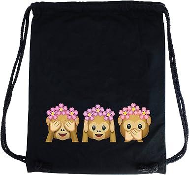 PREMYO Bolsa de Cuerdas Saco de Gimnasio Deporte Mochila Mujer Hombre con Impresión Emoji Tres Monos Práctico Cómodo Cordón Robusto Algodón Negro: Amazon.es: Equipaje