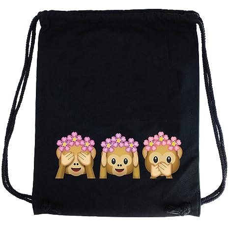 PREMYO Bolsa de Cuerdas Saco de Gimnasio Deporte Mochila Mujer Hombre con Impresión Emoji Tres Monos Práctico Cómodo Cordón Robusto Algodón Negro