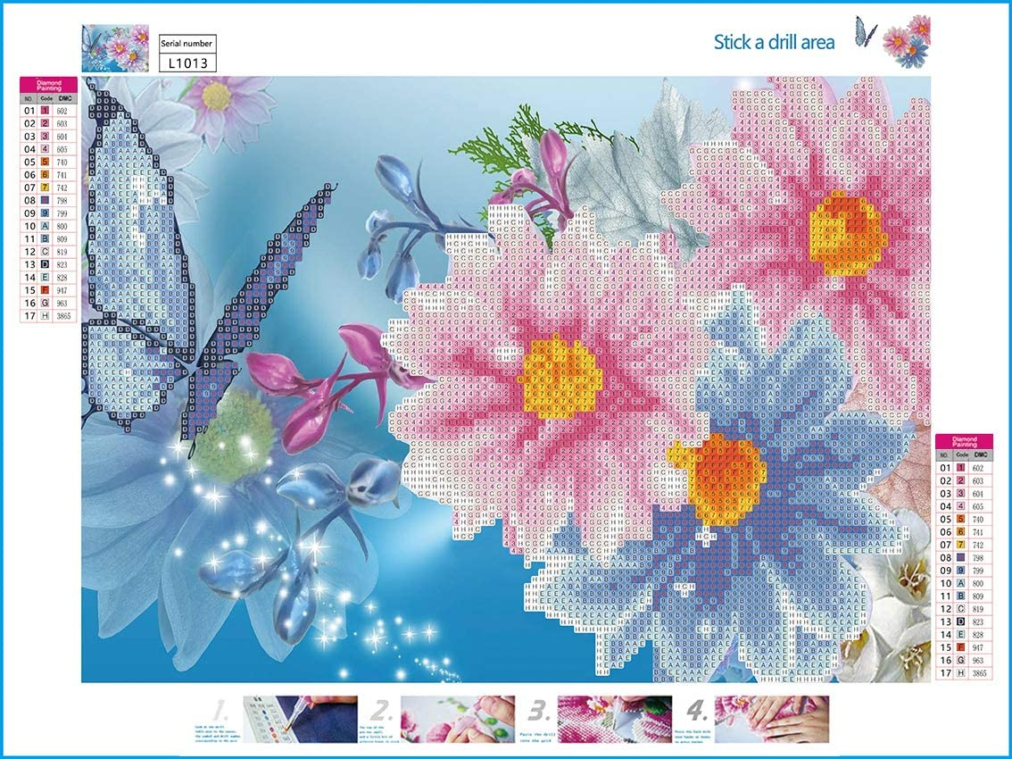 SuperDecor 5D Diamond Painting Kits Full Drill Diamond Embroidery Painting Art DIY by Number Kits Blue Stitch for Home Wall Decor