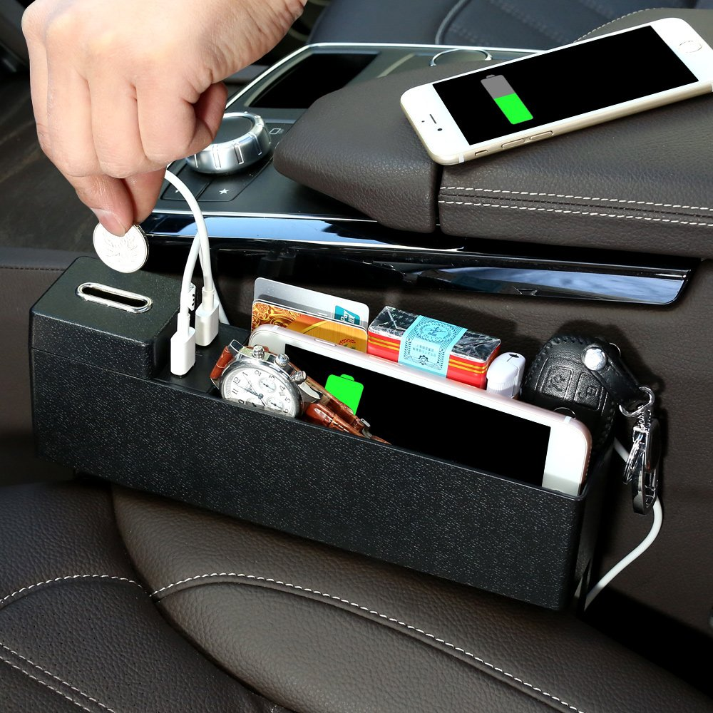 車のシートGap Filler and Organizerオーガナイザー手帳キャッチャーストレージボックスポケットCupホルダーwith 2 USBシート側オーガナイザーブラック   B07915JH97
