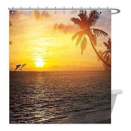 Liguo88 Custom Waterproof Bathroom Shower Curtain Polyester Palm Trees Ocean Decor Tropical Island Beach And Sunset