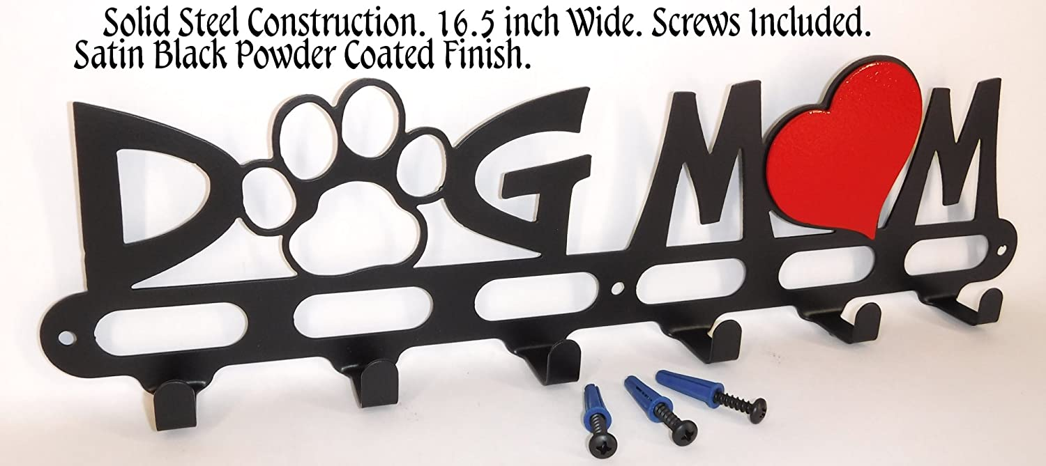 Dog Mom. Leash Holder. Hook. Hanger. Handmade in USA. Satin Black. Screws Included.