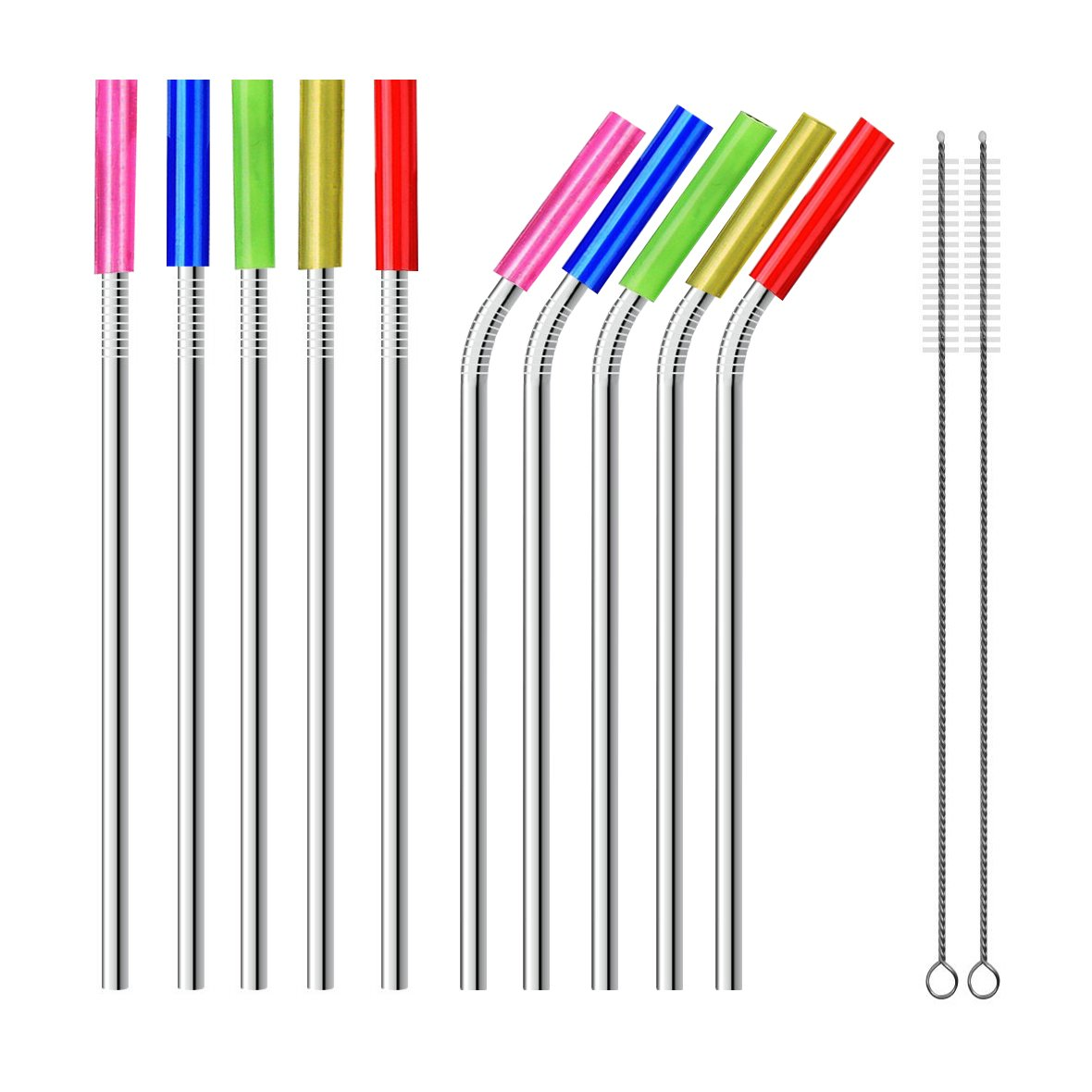 Set of 10 Reusable Drinking Straws 9.5'', Extra Wide 8mm Stainless Steel Straws with 2 Brushes and Carry Bag, ECO-Friendly Boba Metal Straws with Silicon Tips for Smoothie Bubble Tea Milkshake
