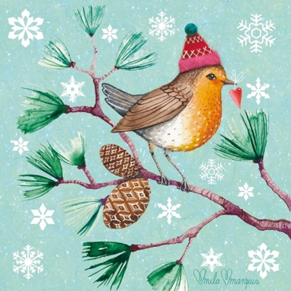 4 x Paper Christmas Napkins - Winter Bird - Ideal for Decoupage / Napkin Art Crafty Things