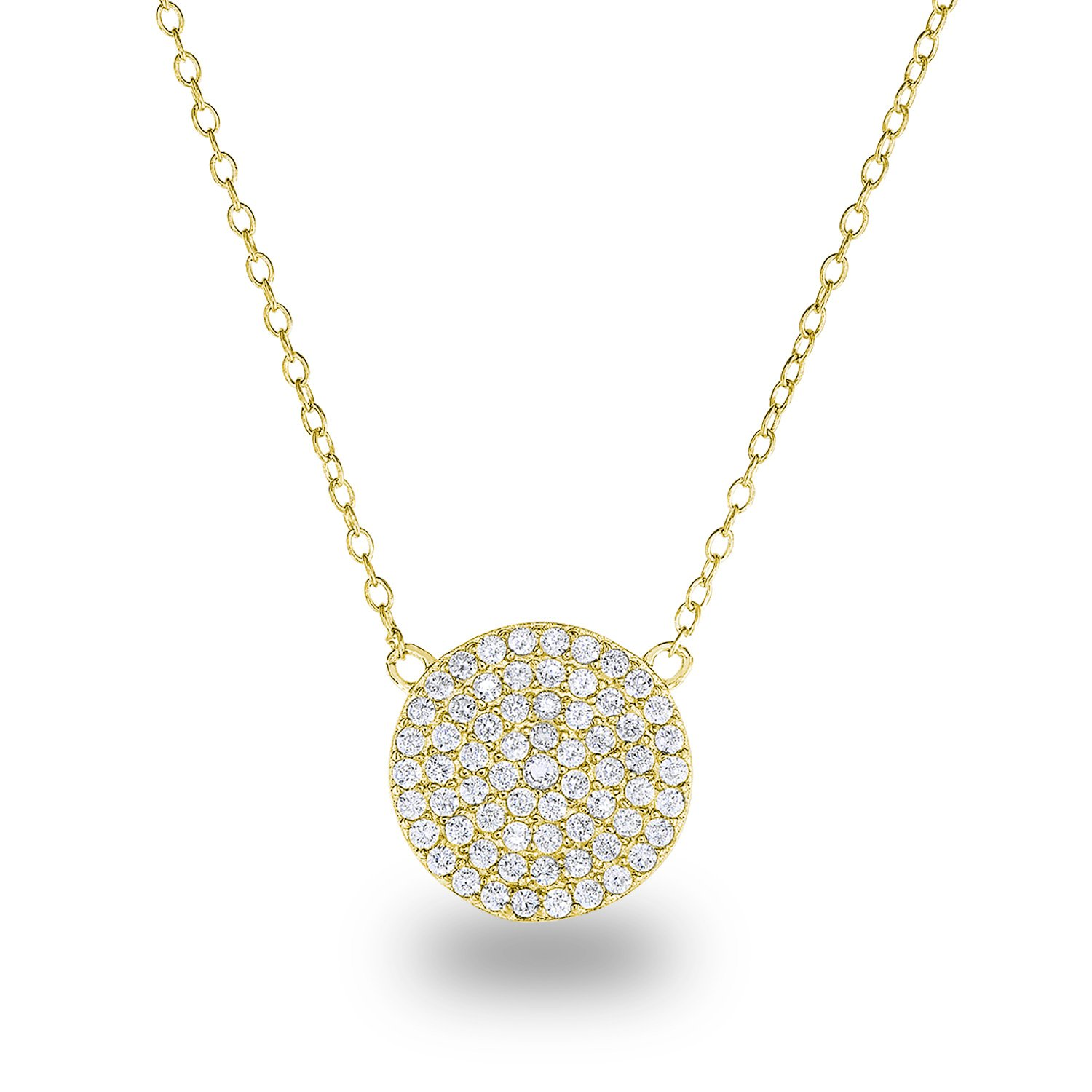14k Yellow Gold Plated Sterling Silver Cubic Zirconia Pave Disc Circle Chain Necklace,18'' Diameter:12mm