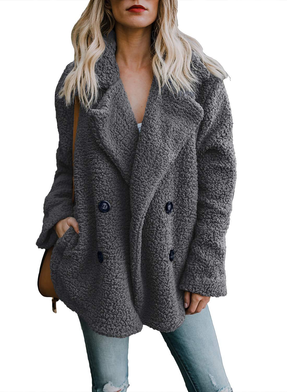 Actloe Women Fleece Open Front Long Sleeve Cardigan Casual Coat with Pockets Plus Size Dark Gray XX-Large by Actloe