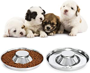 LEACOOLKEY Stainless Steel Dog Bowl-Puppy Feeder Food/Water Bowl-Puppy Feeding Bowls for Litters-Pet Feeder Bowl Whelping/Weaning Dishes Feeder for Small/Medium/Large Dogs Ste of 2 (M, C-Silver Color)
