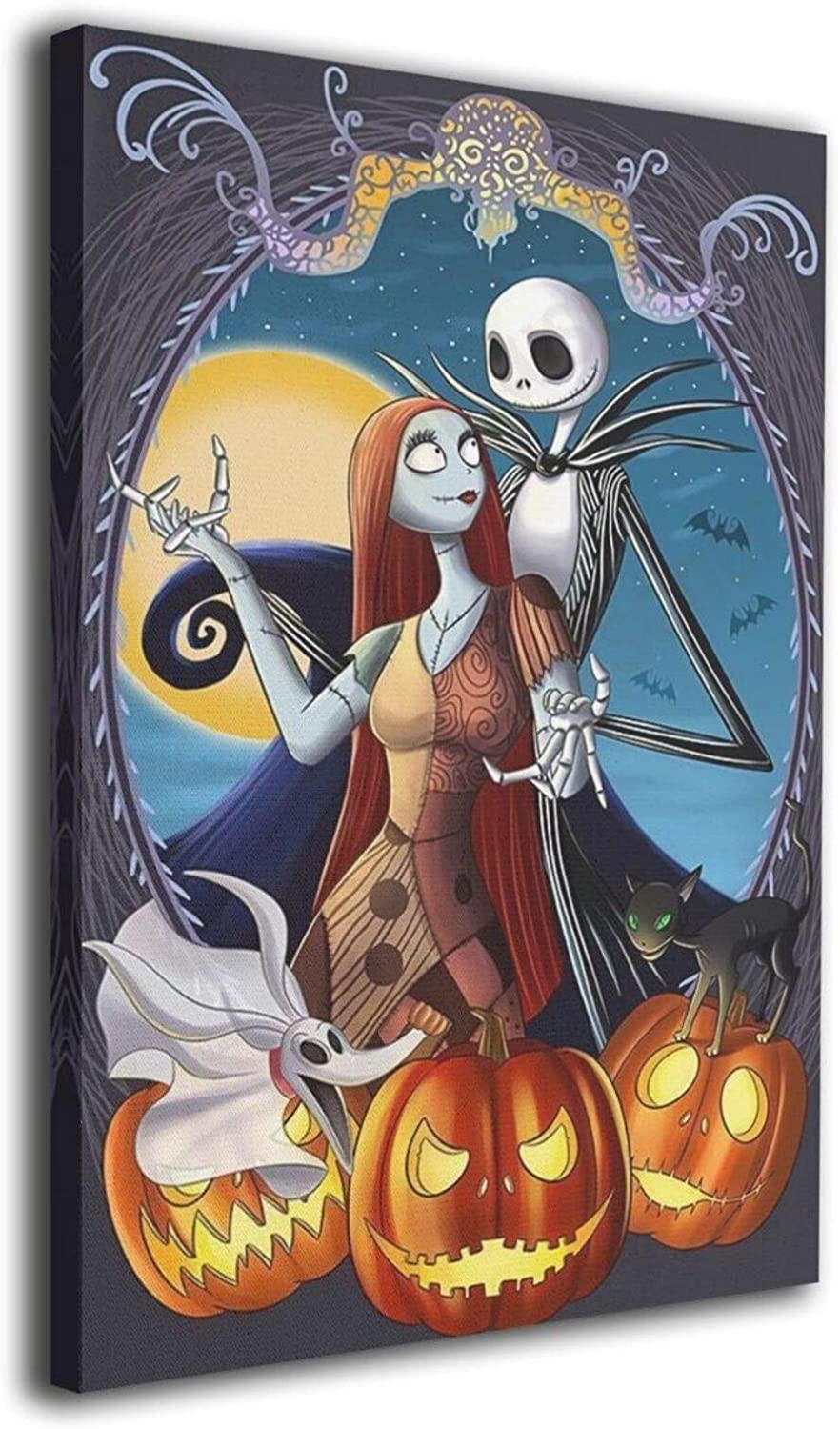 """Cunningham Nightmare Before Christmas Jack And Sally Canvas Wall Art Contemporary Artwork Home Decor For Bedroom Dining Room Ready To Hang 8"""" X 12"""""""