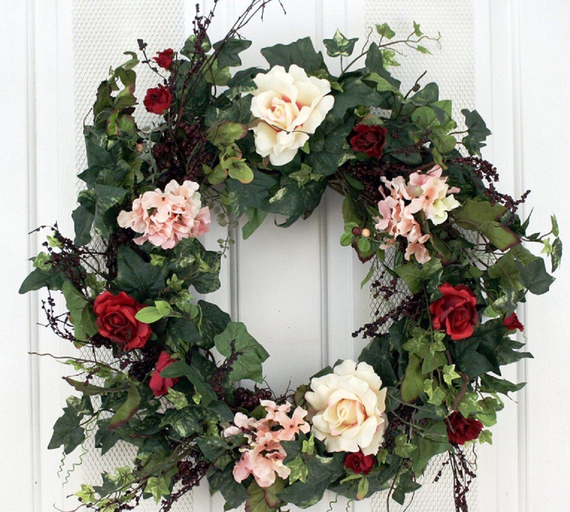 Rose and Hydrangea Door Wreath