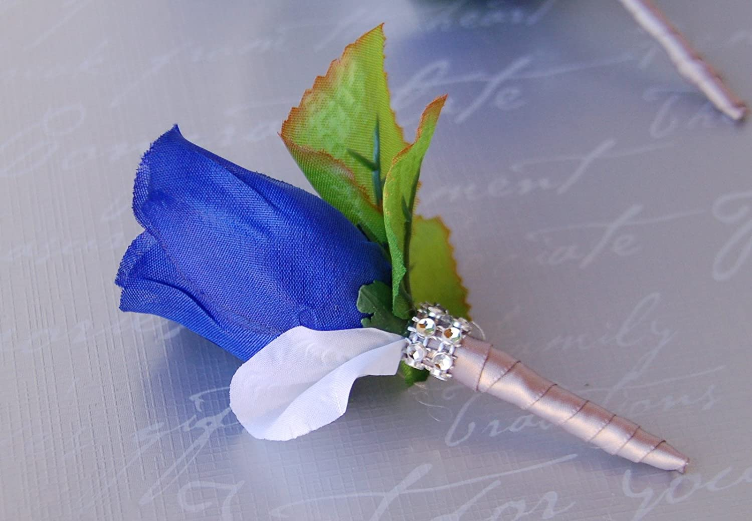 Amazon boutonniere royal blue rose silver ribbon with white amazon boutonniere royal blue rose silver ribbon with white petal boutonniere with pin for prom party wedding home kitchen izmirmasajfo Gallery