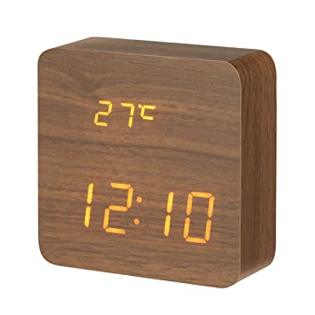 Despertador LED de madera digital, DIGOO DG-AC1 Escritorio reloj de cabecera con control