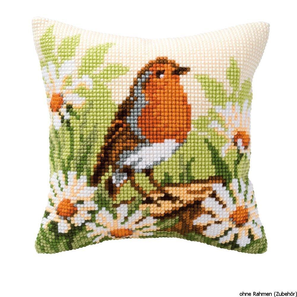 Vervaco Robin Cross Stitch Cushion Multi-Colour