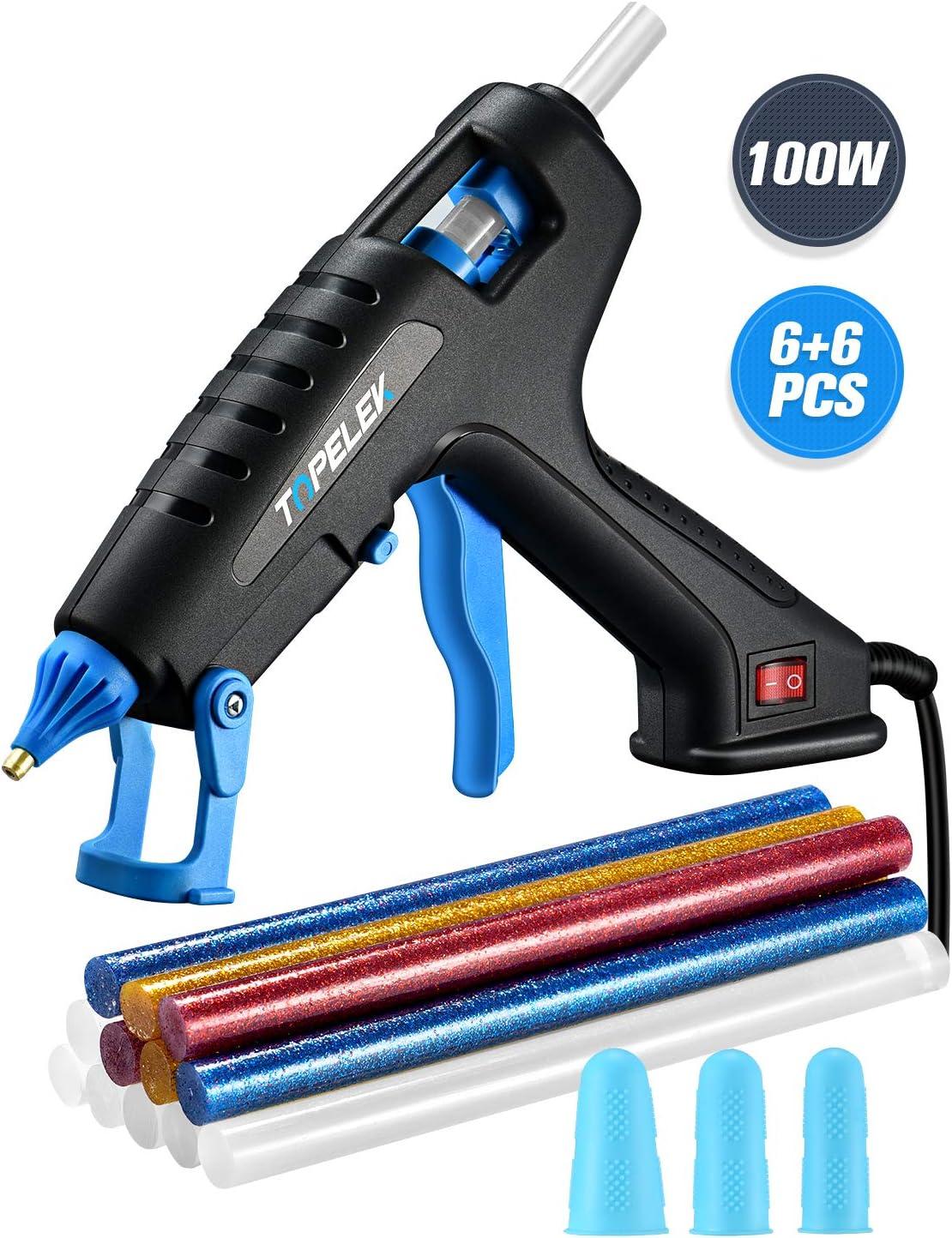 TOPELEK Pistola de Silicona Caliente 100W, Pistola de Pegamento Adulto con 12 PCS barras de pegamento y 3 Protectores de dedos, para usos industriales, manualidades caseras para bricolaje