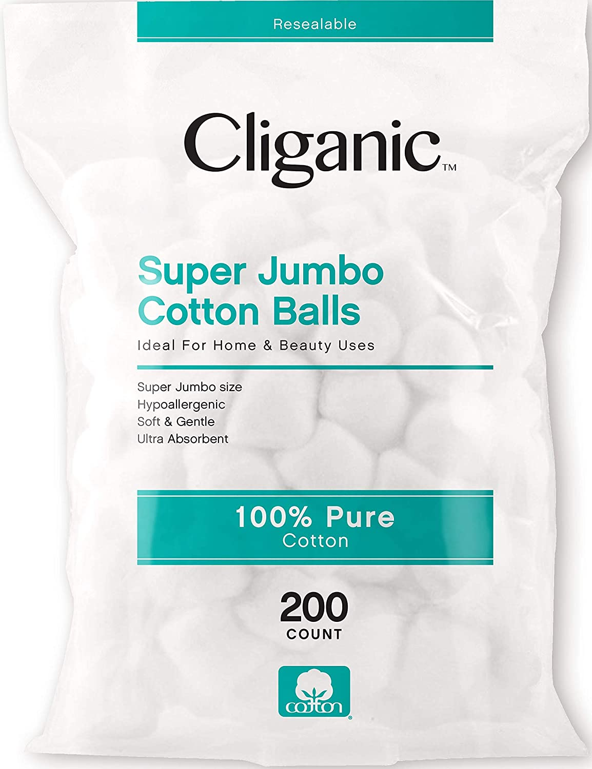Cliganic SUPER JUMBO Cotton Balls 200 Count  Hypoallergenic Absorbent Large Size 100 Pure