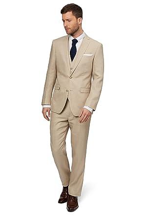 Gemeinsame Moss 1851 Herren Tailored Fit Beige Leinen Anzug Jacke Sakko 46R #LA_28