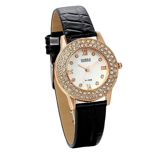 Jewelrywe Relojes de mujer con diamantes de imitación brillantes atractivo reloj negro de cuero, estilo sencillo casual para cualquier ocasión, ...