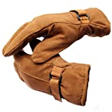Ramanta Men's Soft Leather Warm Winter Riding Gloves for Riders (Brown, Large)