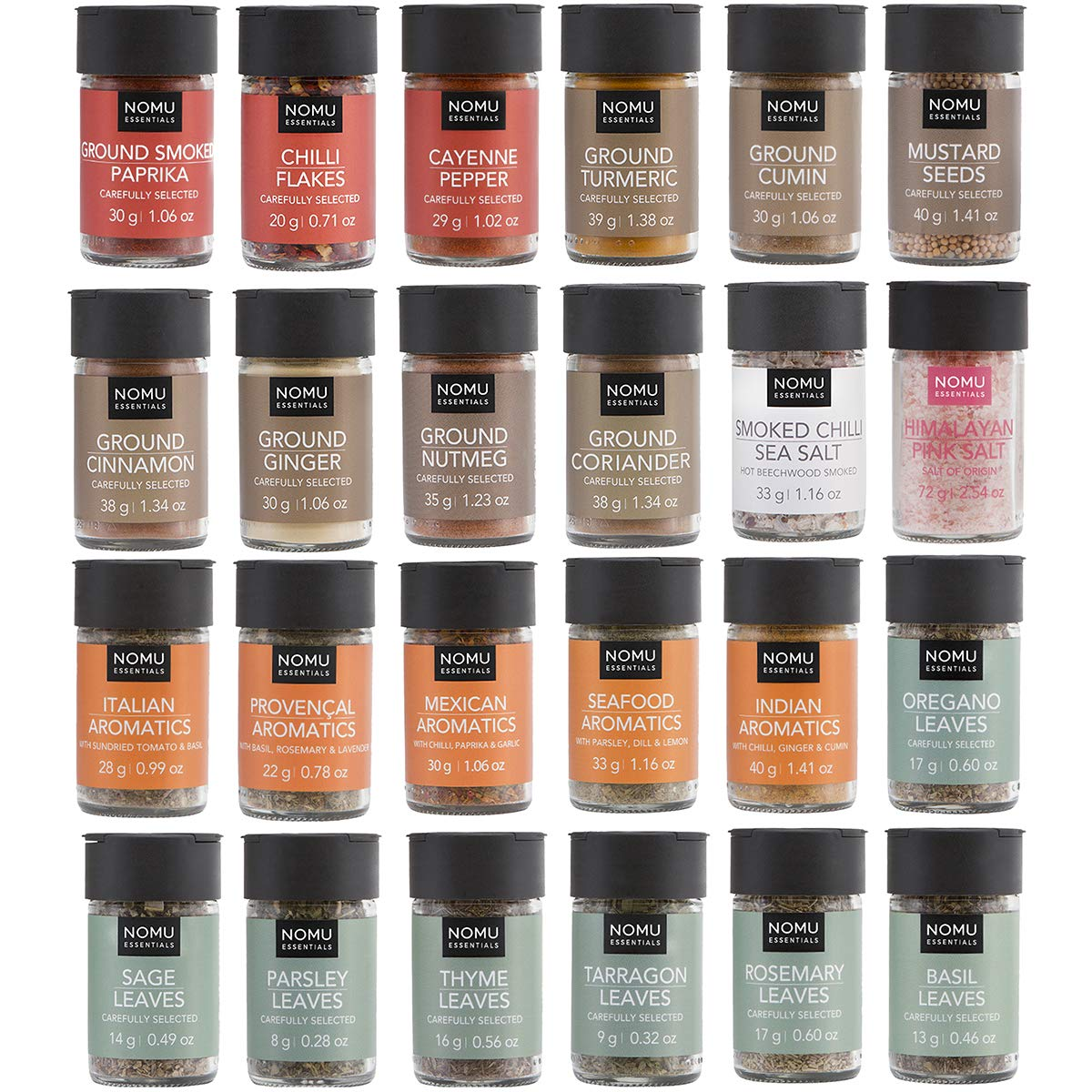 NOMU 24-Piece Starter Variety Set of Spices, Herbs, Chilis, Salts and Seasoning Blends Kit | Non-irradiated, No MSG or Preservatives