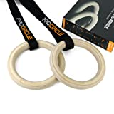 PROCIRCLE® Wood Gymnastic Rings - Olympic Gym Rings with Adjustable Long Buckles Straps - Workout For Home Gym & Cross Fitness - Great for Your Muscle Ups, Pull Ups & Strength Training