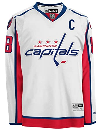 NHL Reebok Washington Capitals #8 Alexander Ovechkin White Premier Player Hockey  Jersey (Medium)